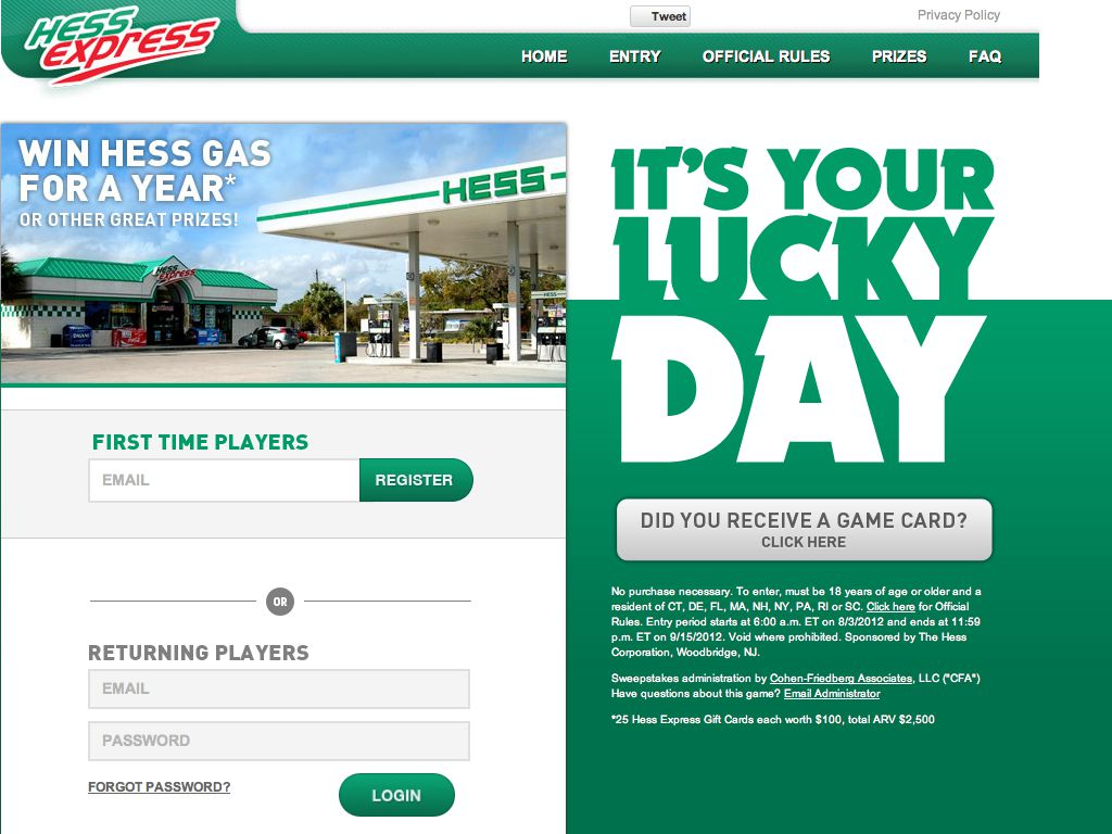 Hess Express Online Sweepstakes (Specific States only)