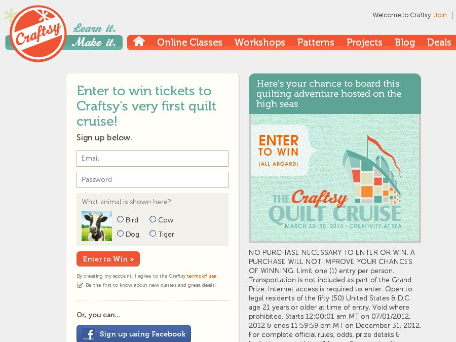 The Craftsy Quilt Cruise Sweepstakes