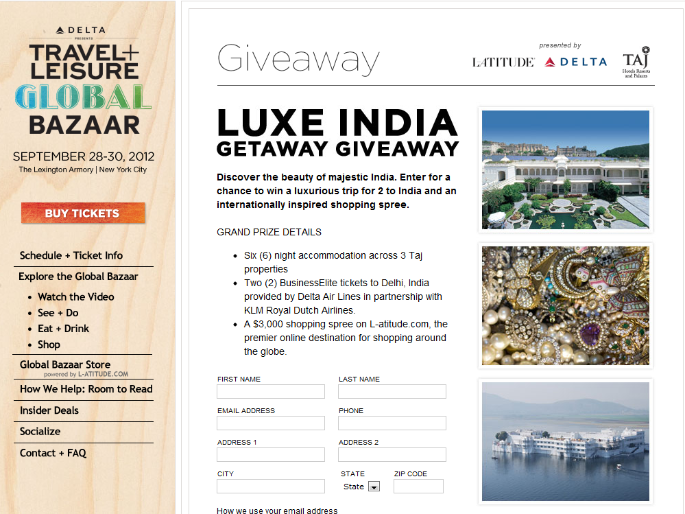 The Luxe India Getaway Giveaway Sweepstakes