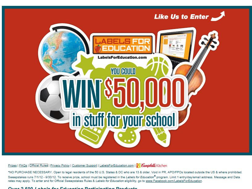 Win $50,000 in Stuff for Your School Sweepstakes