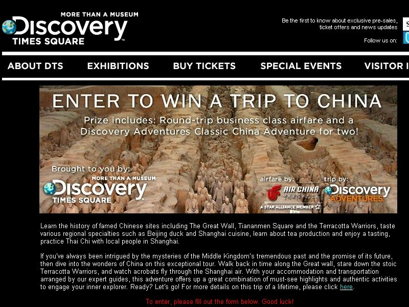 Discovery Terracotta Warriors Trip to China Sweepstakes!