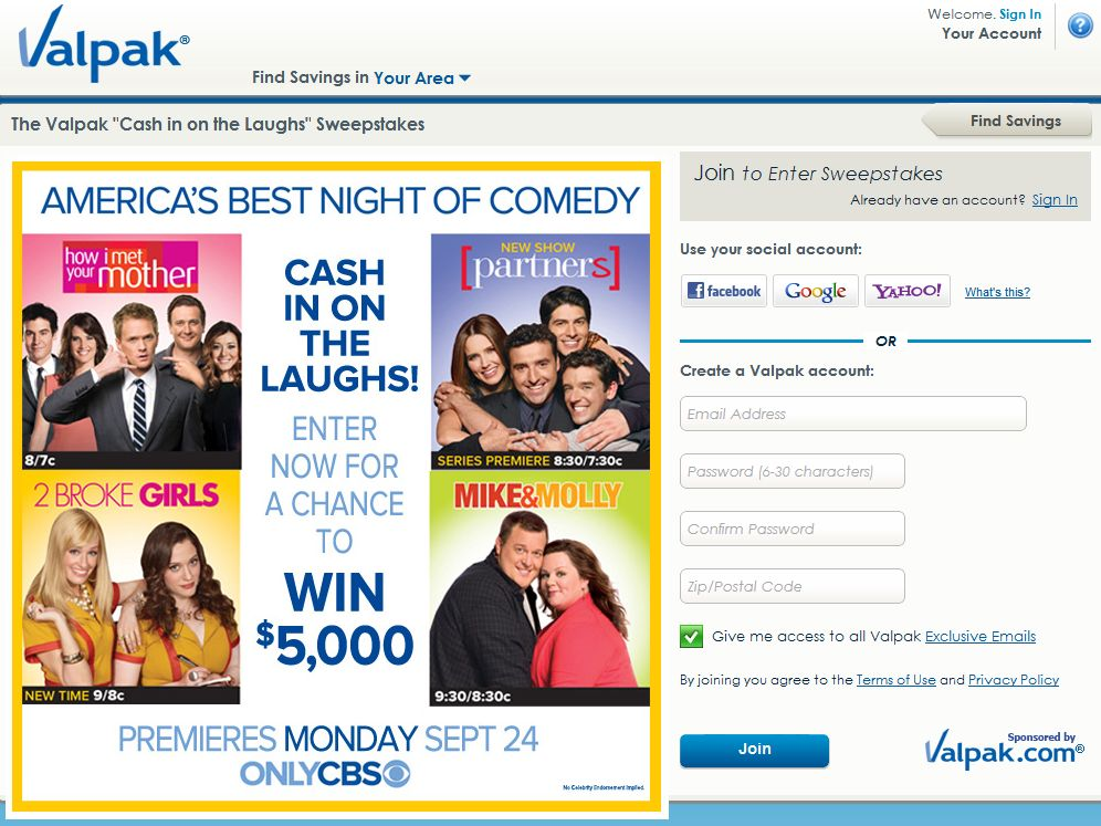 The Valpak Cash in on the Laughs Sweepstakes
