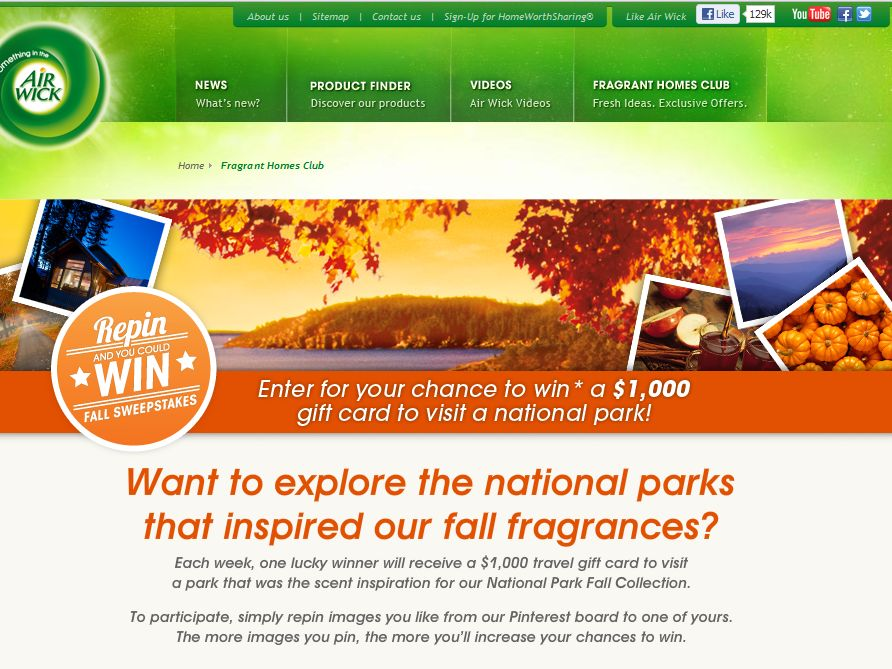 The Air Wick RePin to Win Fall Sweepstakes