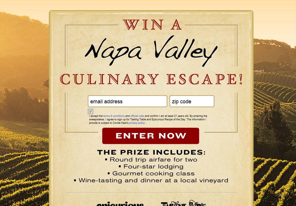 Tasting Table and Epicurious Napa Valley 2012 Sweepstakes