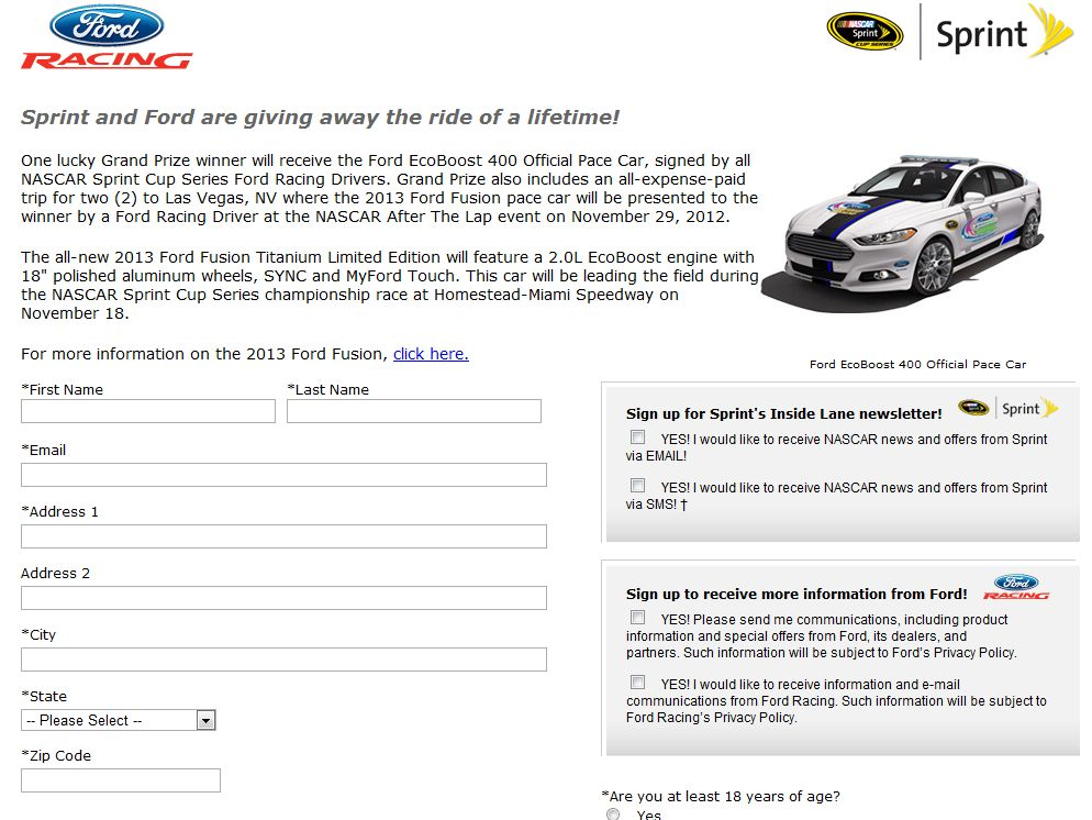 Ford/Sprint Win a Fusion Pace Car Sweepstakes