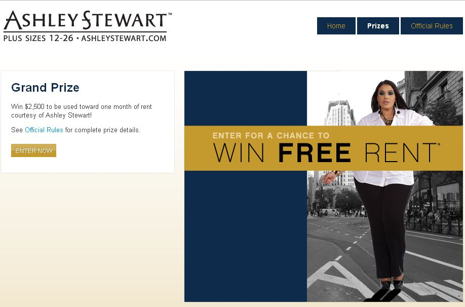 The Ashley Stewart Free Rent Giveaway Sweepstakes!