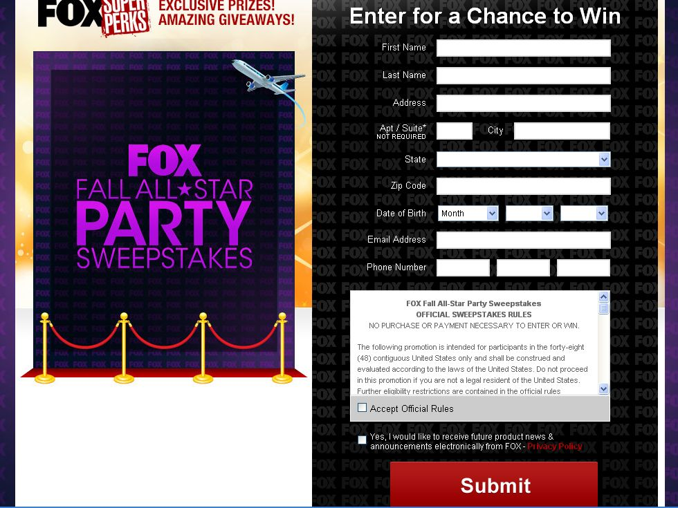 Fox Fall All-Star Party Sweepstakes!