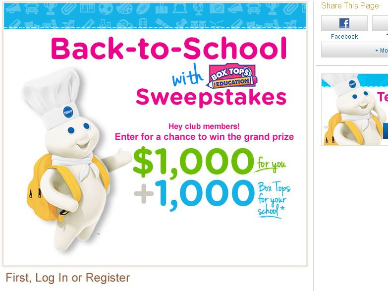 Pillsbury Back To School with Box Tops Sweepstakes!