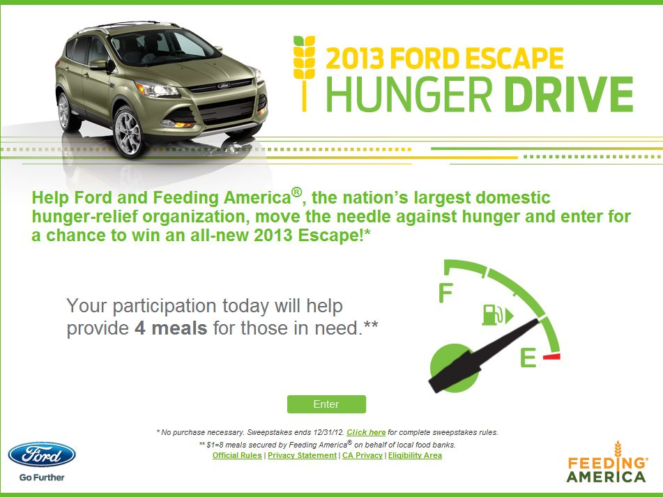The 2013 Ford Escape Hunger Drive Sweepstakes/ Western Region (Specific States/Zipcodes)