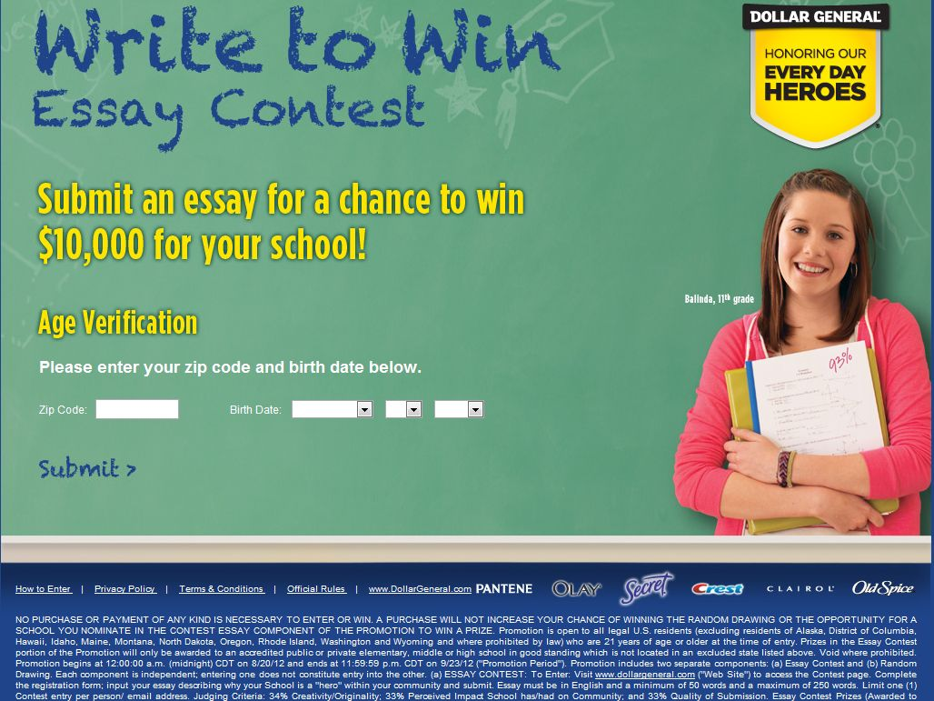 Dollar General Write to Win Sweepstakes (Specific States)