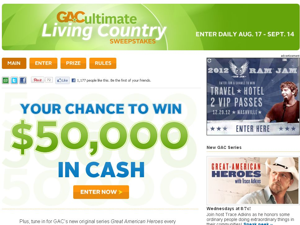GAC Ultimate Living Country Sweepstakes!