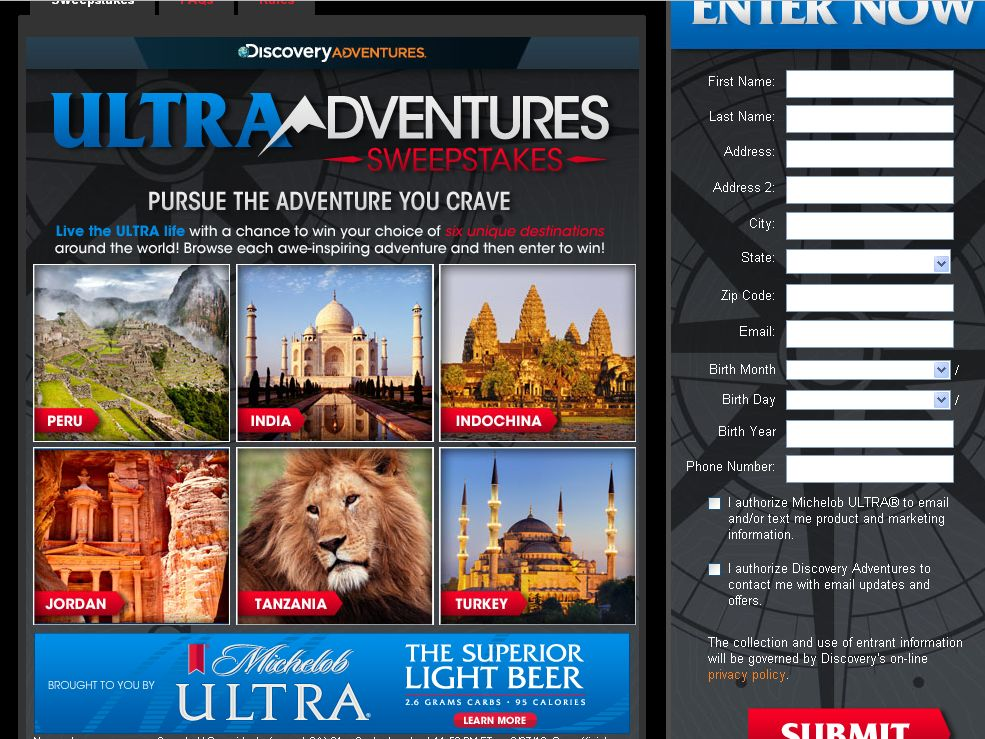 Discovery's The Michelob Ultra® Adventure Sweepstakes!