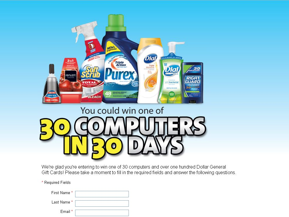 Dollar General 30 Computers in 30 Days 2012 Sweepstakes!