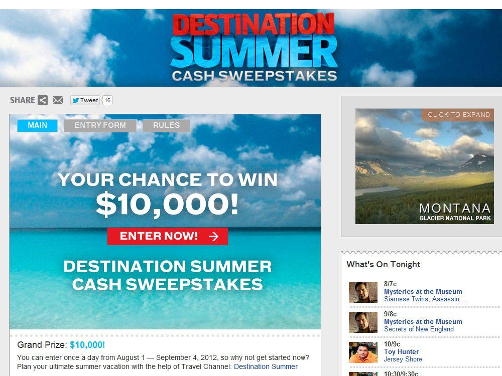 Destination Summer Cash Sweepstakes