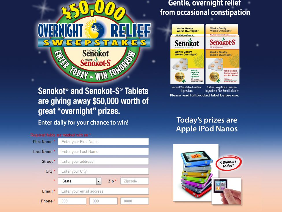 Senokot Overnight Relief Sweepstakes