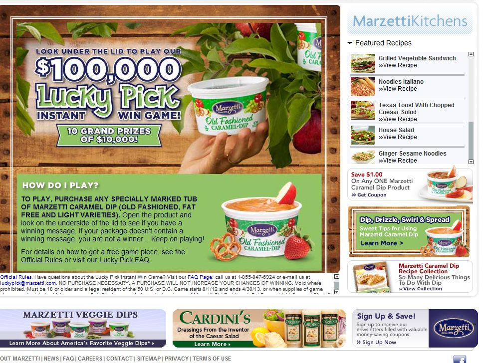 T. Marzetti Caramel Dip/The Lucky Pick Instant Win Game