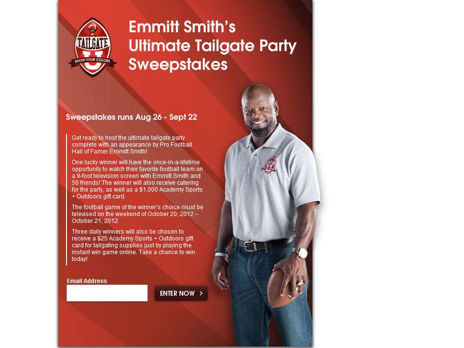 Ultimate Tailgate with Emmitt Sweepstakes
