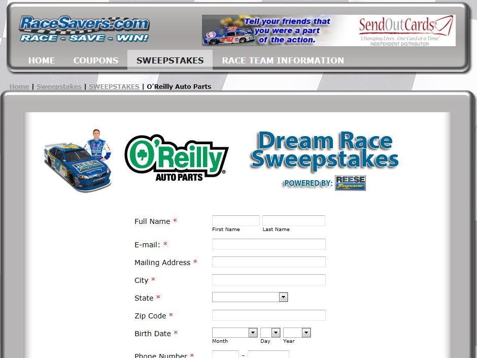 O'Reilly Auto Parts Enter Online to Win Dream Race Package for 2013 Sweepstakes