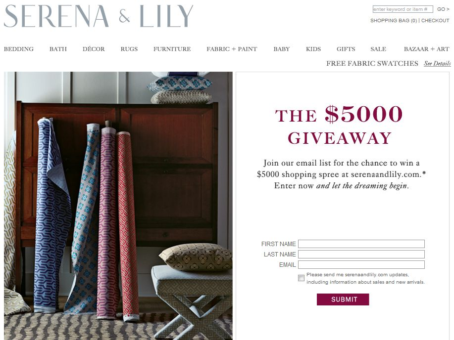 Serena & Lily $5000 Decorating Sweepstakes