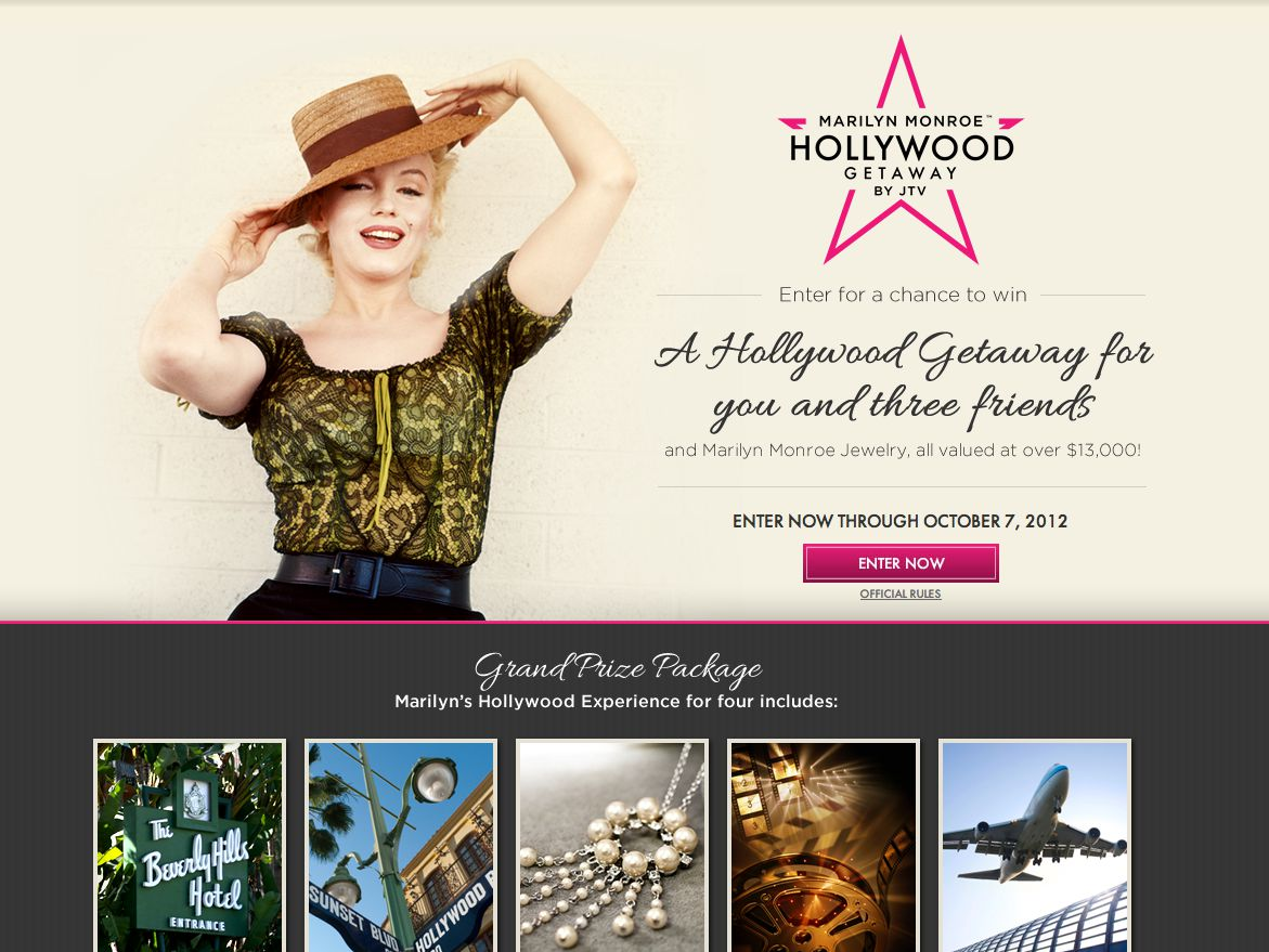 Marilyn Monroe's Hollywood Getaway by JTV Sweepstakes