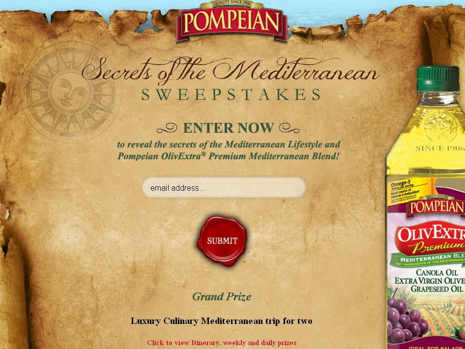 POMPEIAN'S SECRETS OF THE MEDITERRANEAN PROMOTION!