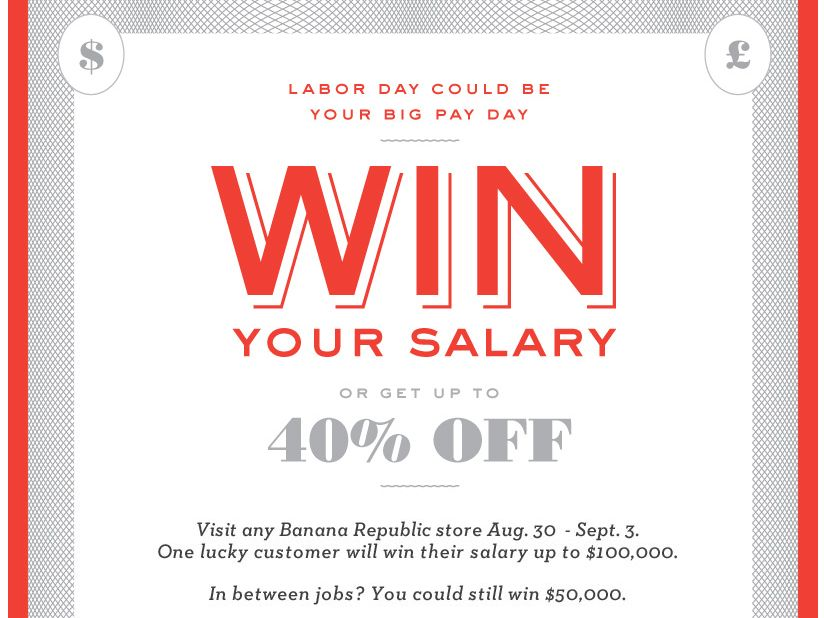 Banana Republic's Win Your Salary Game