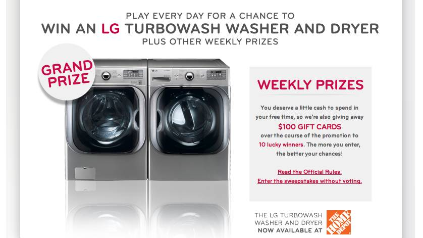 LG TurboWash Less Mess More Life Sweepstakes