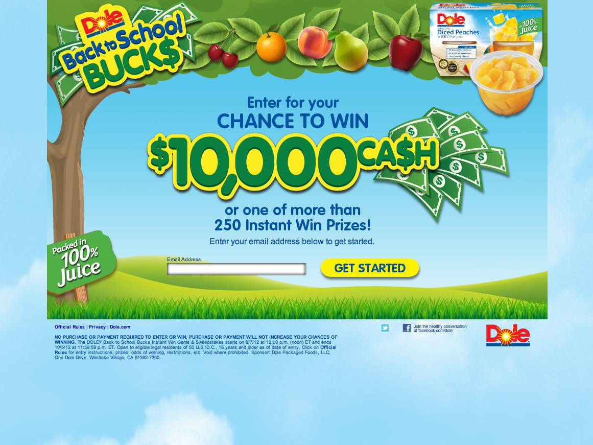 The DOLE Back to School Bucks Instant Win Game & Sweepstakes
