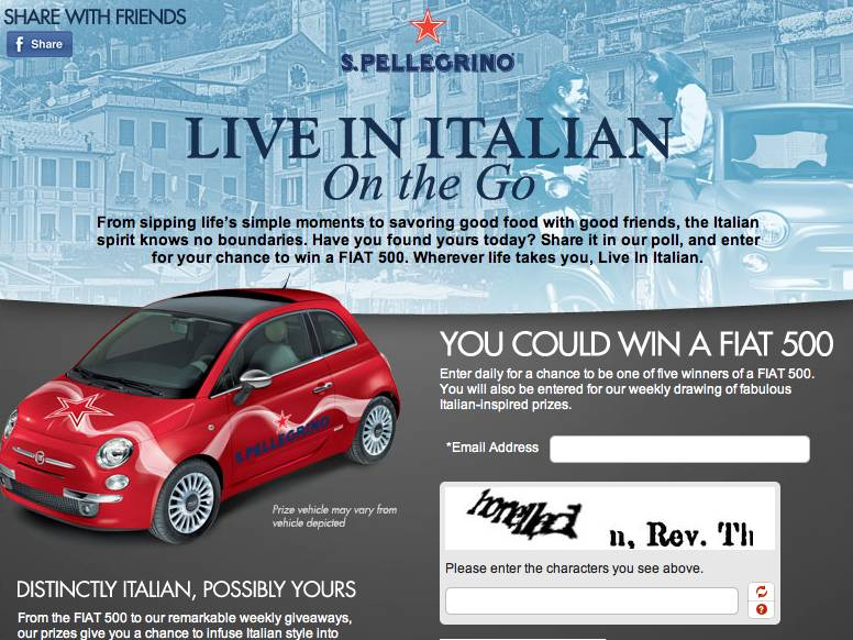 San Pellegrino Live in Italian Sweepstakes