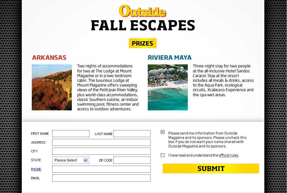 Outside Magazine Fall Escape Sweepstakes