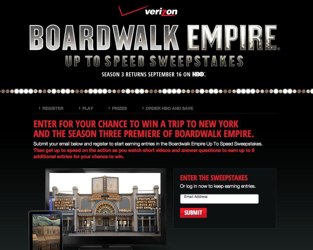 Verizon's Boardwalk Empire Up to Speed Sweepstakes