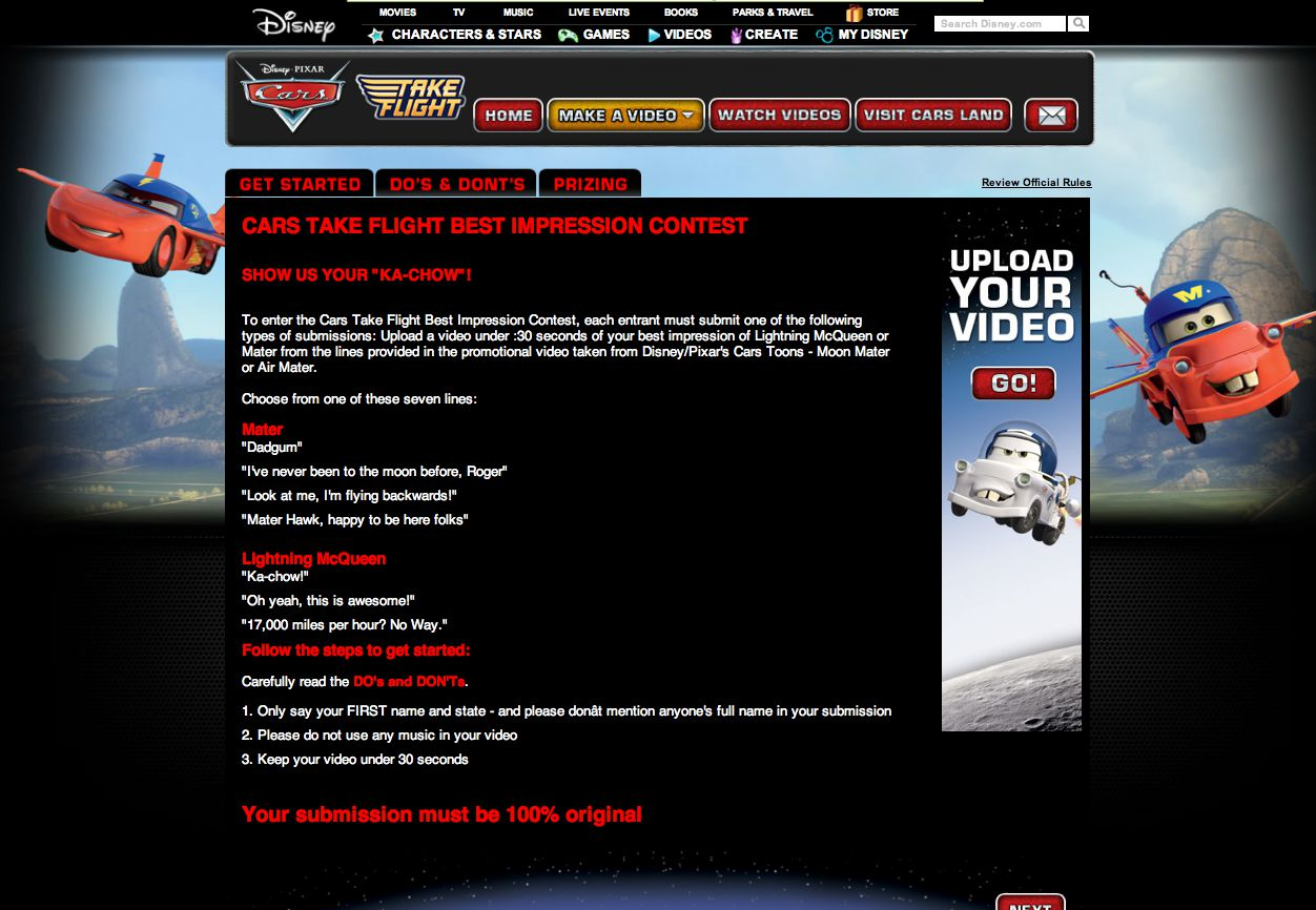 Cars Take Flight Best Impression Sweepstakes
