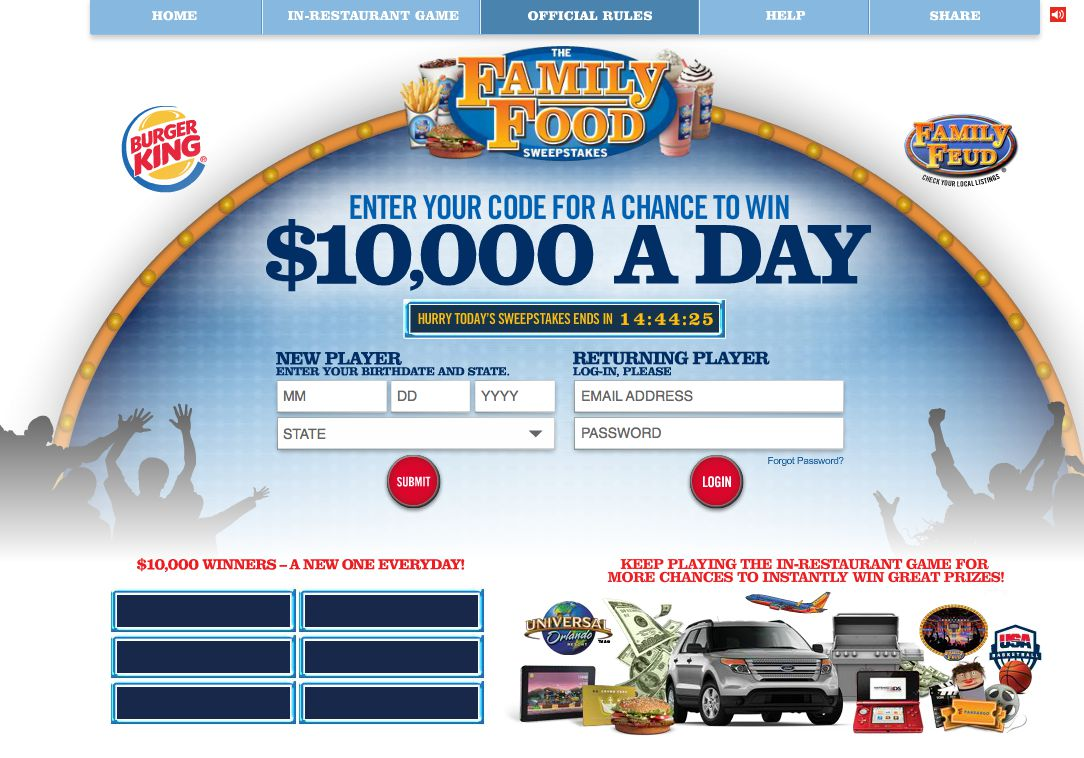 The BURGER KING Family Food Game and Sweepstakes