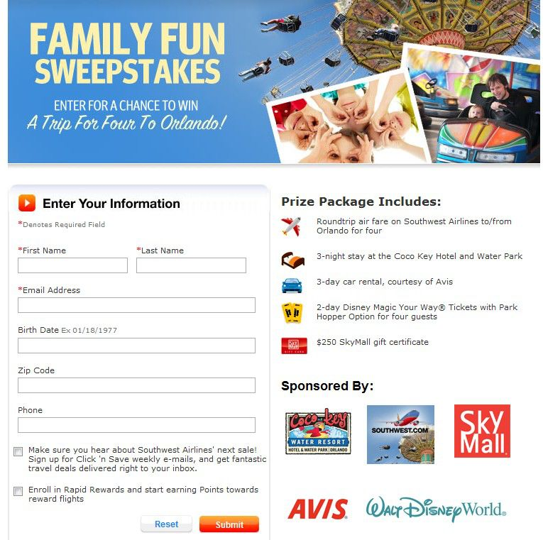Southwest Airlines Family Fun Sweepstakes