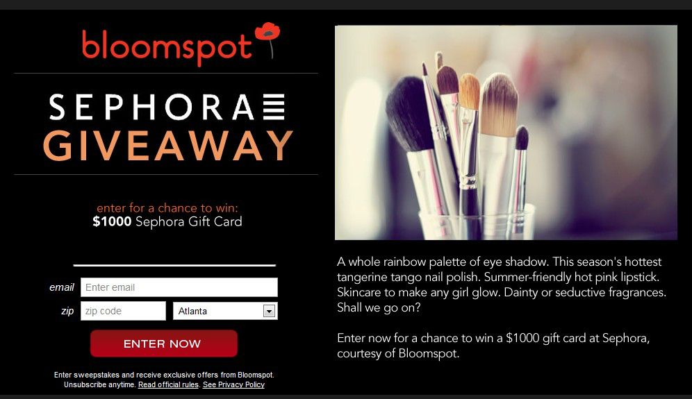 The bloomspot $1,000 Sephora Giveaway Sweepstakes