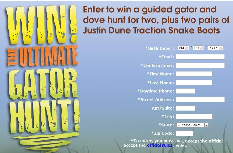 Ultimate Gator Hunt and Justin Boots Sweepstakes (Hunters Only)