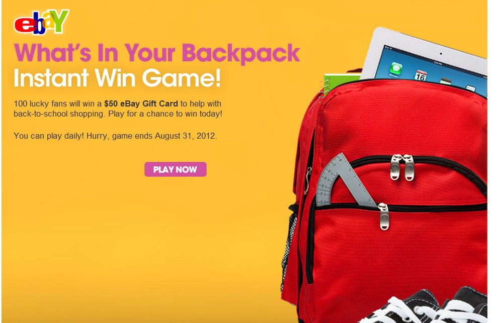 The eBay Back to School Instant Win Game