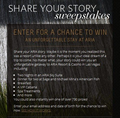 Aria Share Your Story Sweepstakes