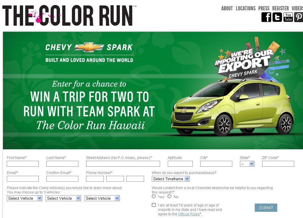 2012 Chevrolet Color Run Sweepstakes!