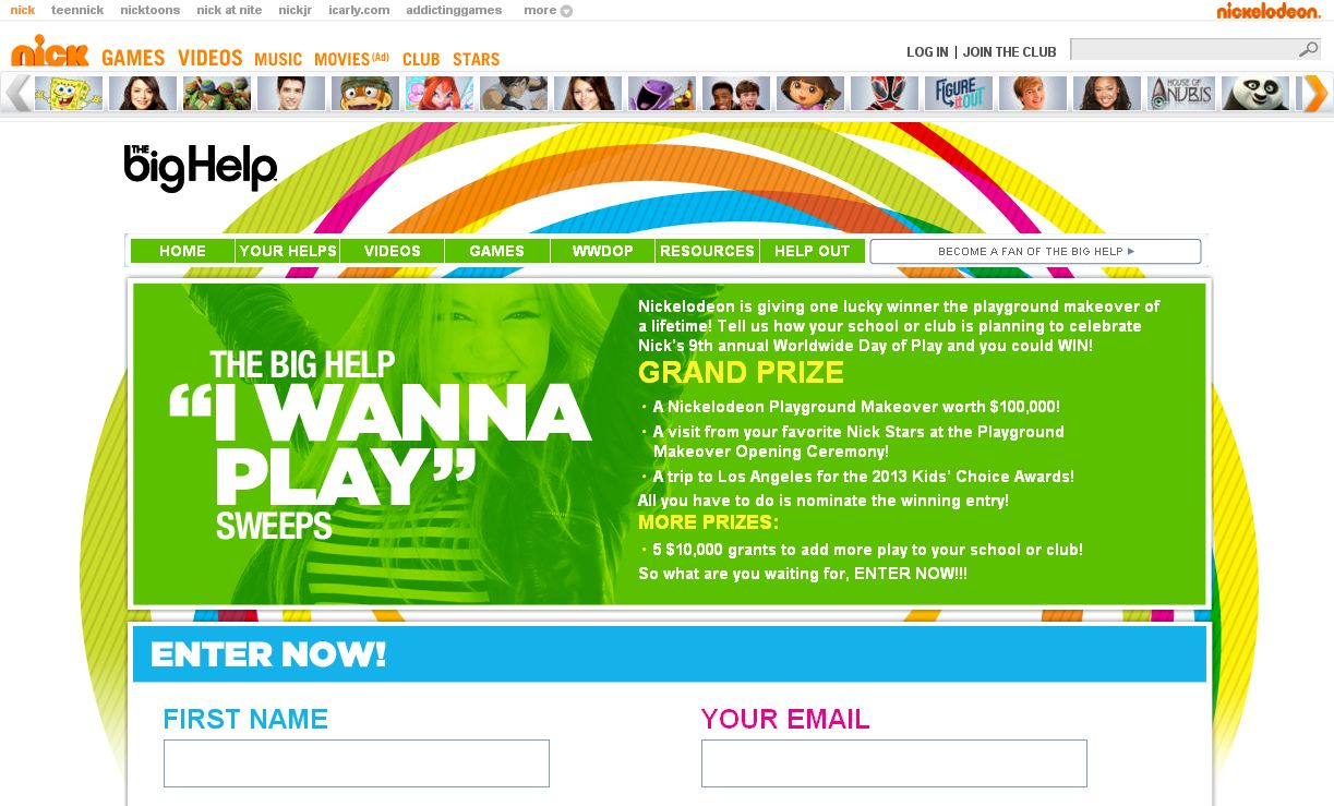 Nickelodeon The Big Help I Wanna Play Sweepstakes!