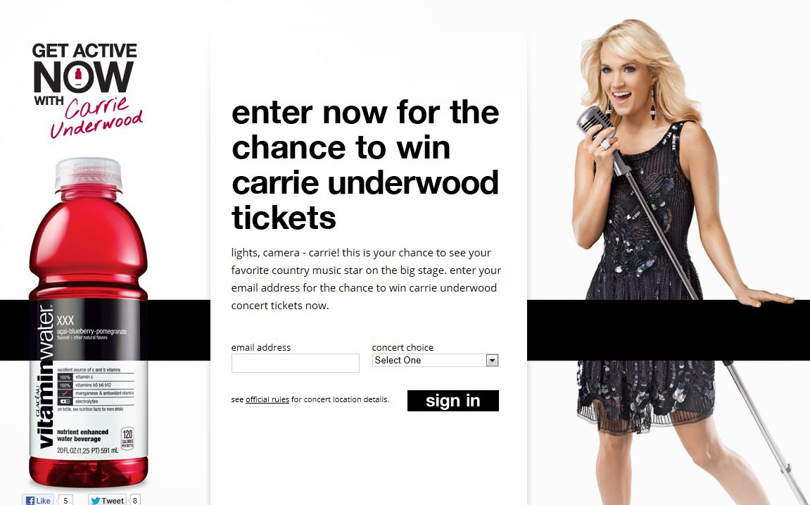 The Carrie Underwood Concert Tour Sweepstakes