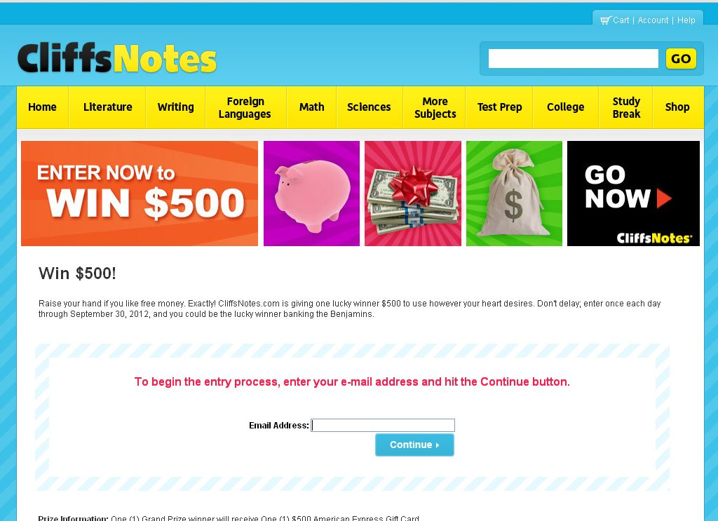 CliffsNotes.com Sweepstakes!