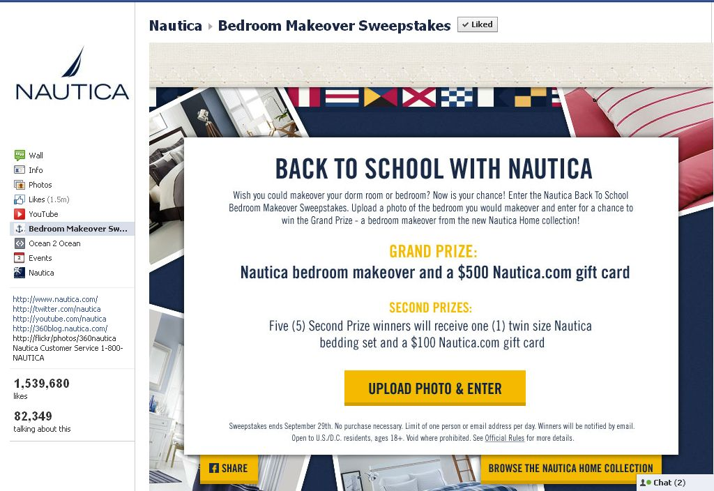 Nautica Bedroom Makeover Back to School Sweepstakes!