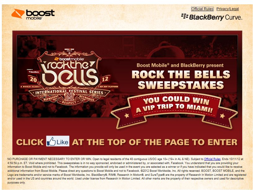 Boost Mobile Rock the Bells 2012 Sweepstakes