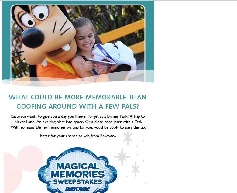 Family Magical Memories Vacation Sweepstakes