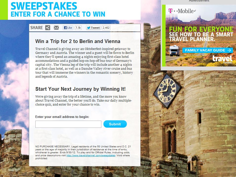 Travel Channel September 2012 Sweepstakes