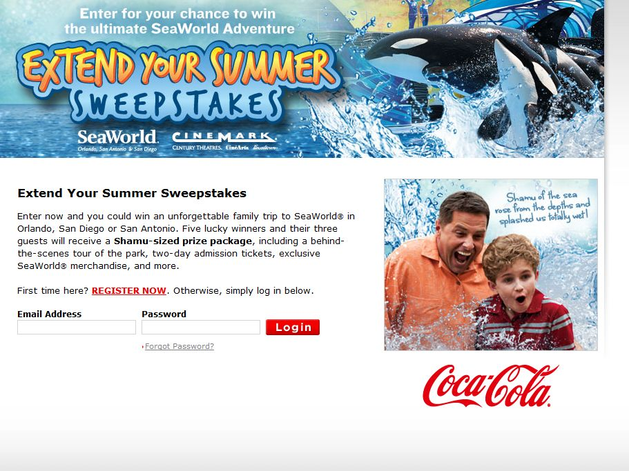 The Coca-Cola/Seaworld Extend Your Summer Sweepstakes