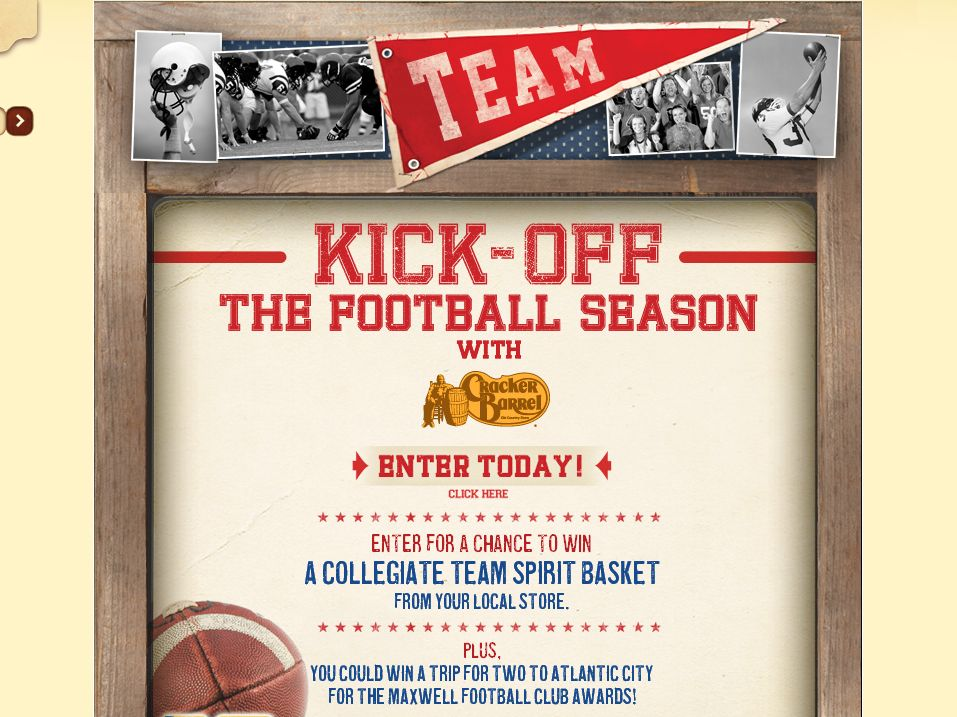 Cracker Barrel Old Country Store Football Fan Getaway Sweepstakes!