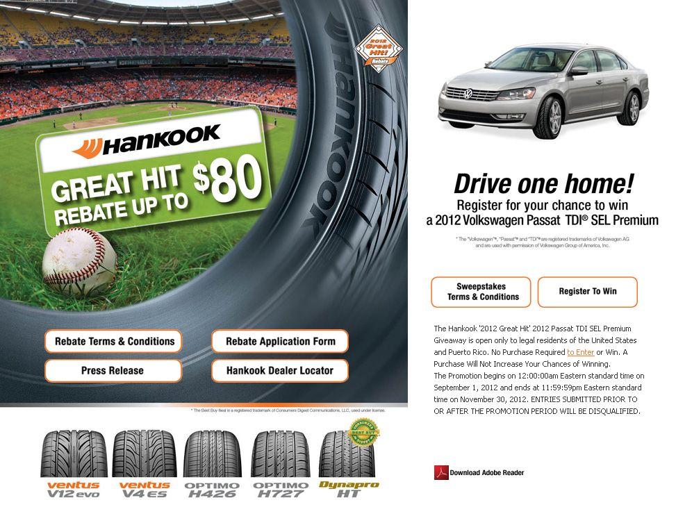 The Hankook '2012 Great Hit 2012 Passat TDI SEL Premium Giveaway!