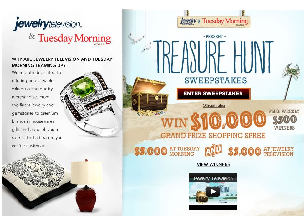 JTV and Tuesday Morning Treasure Hunt Sweepstakes